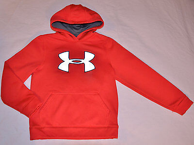 Under Armour Hooded Sweatshirt Boys Small Big Logo Reflective Red Gray Hoodie 8