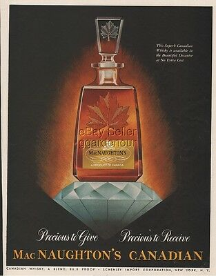 1954 MacNaughton Canadian Whisky ~ Bottle Decanter ~ Whiskey ~ Magazine Print Ad