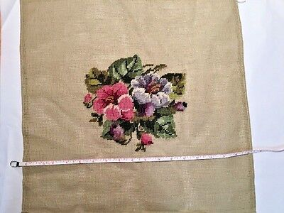 Unfinished Needlepoint Floral Embroidery Partially Completed