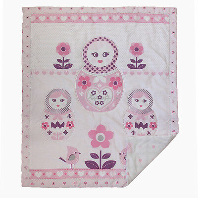 Living Textiles Adele Cot Coverlet Baby Blanket Pink Russian Doll