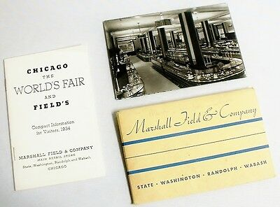 1934 CHICAGO WORLDS FAIR MARSHALL FIELD & CO. POSTCARD SET w/ FAIR MAP & PAMPLET