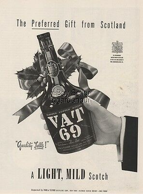 1954 Sanderson's Vat 69 Scotch Whisky ~ Bottle ~ Leith Scotland Whiskey Print Ad