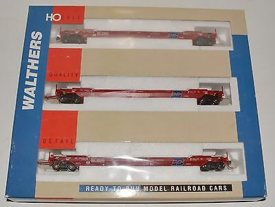 3 pack used Walthers red all purpose Husky Stacks well cars, BN, metal wheels