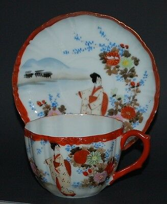 Asian Red and White Geisha Girl Floral Eggshell Porcelain Teacup & Saucer