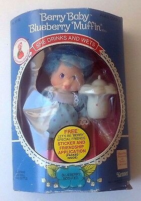 vintage1984 Strawberry Shortcake Berry Baby Blueberry Muffin doll NIP wets