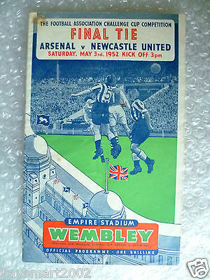1952 FA Cup FINAL Official Programme- ARSENAL v NEWCASTLE UNITED, 3rd May