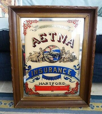 vintage AETNA INSURANCE advertising framed mirror