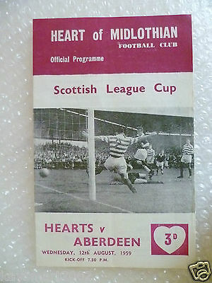 1959 HEART OF MIDLOTHIAN v ABERDEEN, 12th Aug (Scottish League Cup)