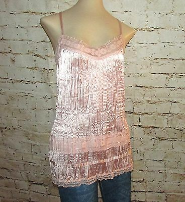 Womens sz XL Stretchy Pink Camisole Silky with Lace pleated Shirt Top Apt 9