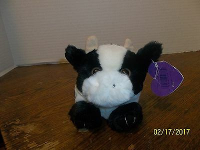 1997 Swibco Puffkins Black & White Meadow Cow Plush With Tag