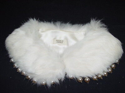 Vintage women's rabbit fur faux pearl beads satin collar made Japan