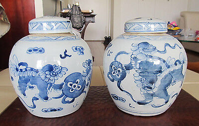 Antique Chinese Blue And White Porcelain Vase Jar W/lid Pair 6.25 Inch