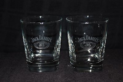 Set of 2 Jack Daniels Old No. 7 Whiskey Square Lowball Glasses Whisky Glass