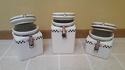 Coca Cola Retro Vintage Kitchen Canisters - by Gibson  - Set of 3