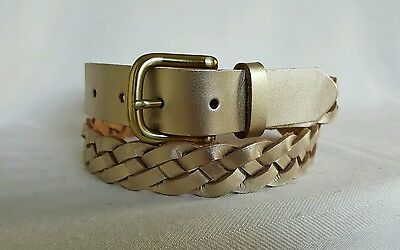 Fossil gold leather woven belt size L