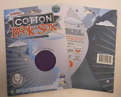 2 Each Original Book Sox Stretchable Cotton Fabric Jumbo Book Covers, Purple Nib