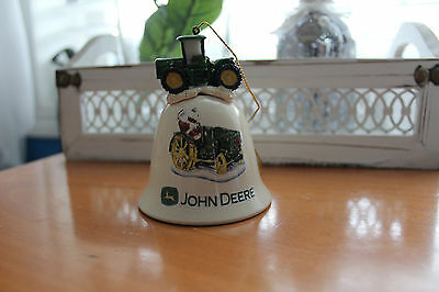 Vintage John Deere Ornament Bell w Tractor RARE HTF