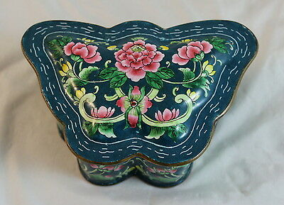 Antique Chinese 19th Century Canton Enamel Bronze Butterfly Box