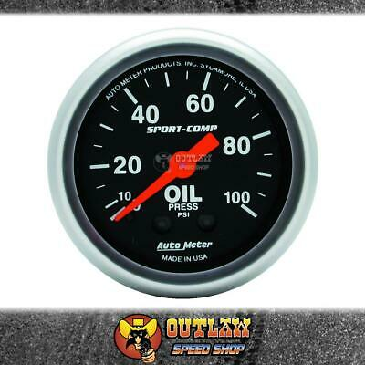 "Autometer Gauge Sport-Comp Oil Pressure 2.1/16"" 0-100 Psi Mechanical - Au3321"