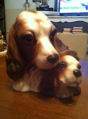 Vintage Spaniel and Pup Planter