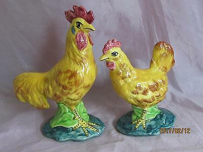Stangl Pottery Rooster & Hen #3445 & 3446 Figurines