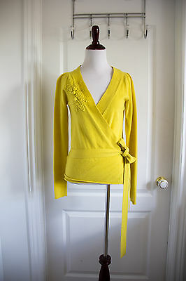 FRENCH CONNECTION Long Sleeve Yellow Wrap Cardigan Sweater Women Medium