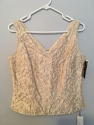 NWT Gilar Beaded Silk Top Size 6