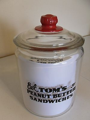 Tom's 2 gallon jar with red knob glass lid country store counter  Lance Planters