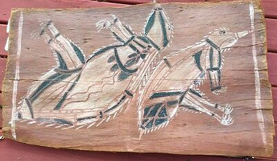 Vintage old Aboriginal Bark Painting circ 1950 ochre