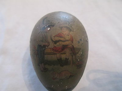Antique Victorian Tin Lithograph Easter Egg..amazing Subject  Early Piece