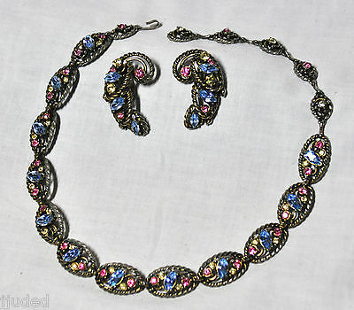 Hollycraft Pink, Blue & Yellow Rhinestone Necklace and Earrings