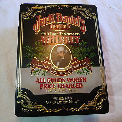 Jack Daniel's Old No 7 Hinged Tin Box w/2 Round Glasses no bottle