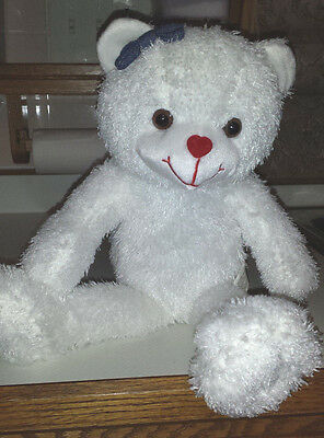 VALENTINE Female White Bear with Bow In Hair Heart Nose Valentine's Day Gift NEW
