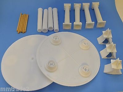 "White Plastic 8"" CAKE TIER SET 2 Trays 8 Separator Pedestals 5 Wooden Dowels"