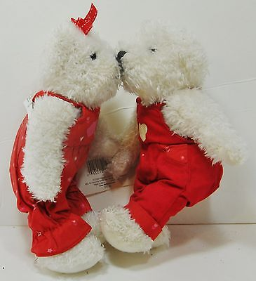 HALLMARK Magnetic KISSING BEARS Plush Red Pink Hearts Outfits TAG No Blushing