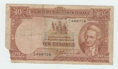 New Zealand 10 Shillings 1940-55 G-VG Banknote P 158a