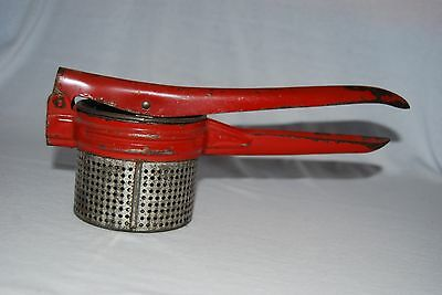 Potato Ricer Vintage Red Handle Metal Primitive Decor Country