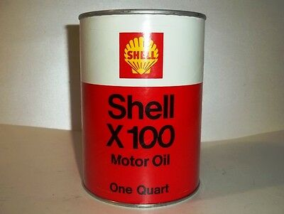Nice Full NOS Vintage SHELL X100 Quart Motor Oil Can Gas Service Station X-100