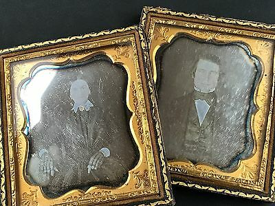Daguerreotype Lot, Handsome Man & Pretty Wife Black Lace Gloves 1850's Photo