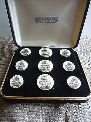 Stephen Barlow Scrimshaw Sale Ships Frigate Nautical Buttons Original Box Mint