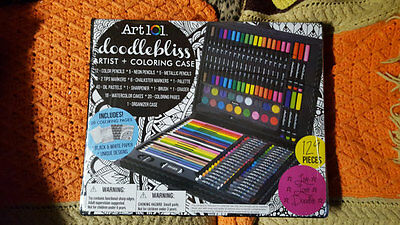 Art 101 Doodlebliss 129 Piece Painting & Drawing Kit w/Case, Brand New!