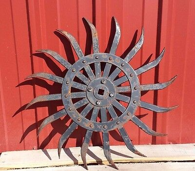 "antique cultivator rotary  hoe 21"" iron wheel spiked industrial garden yard art"