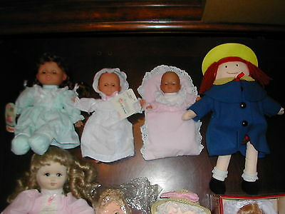 LOT of PLAY DOLLS some TAGS * ALL KINDS * VINYL * CLOTH * Porcelain * AUNTIES