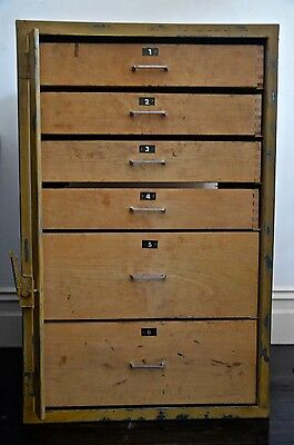 Vintage Industrial Metal Cabinet With Timber Drawers And Metal Safety Latch