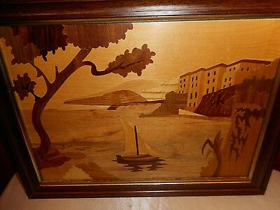 Vintage Wood Inlaid Marquetry Wall Hanging - Sorrento, Italy Seashore - Lovely!