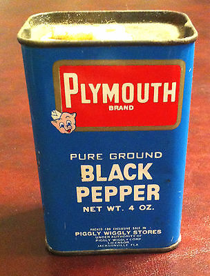 RARE! Plymouth Piggly Wiggly Pepper Spice Tin Can Porky Pig  Jacksonville Fl.