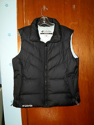 Womens Columbia Down Vest  Zips  Black   Womens Size Large