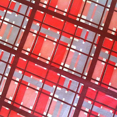 50's 60's vintage red grey PLAID polished cotton Brazilian fabric