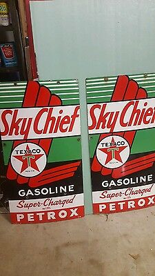 1958 Texaco Sky Chief Petrox Porcelain Gas Pump Plates Matched Set, Rare Find