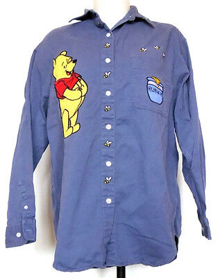 The Disney Store Winnie The Pooh Hunny & Bees Slate Blue Button-Front Shirt L
